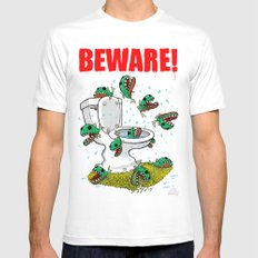 BEWARE! Toilet Piranhas! MEDIUM White Mens Fitted Tee