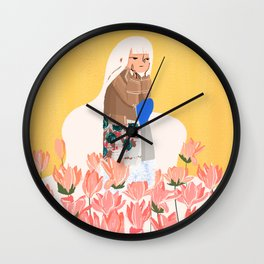 Waiting in bunk of flowers Wall Clock