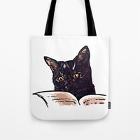 ripley Tote Bags featuring Ripley Reads by Helenasia
