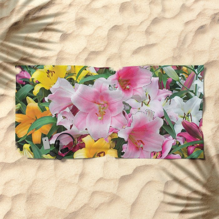 SPRING LILIES FLOWER GARDEN MEDLY Beach Towel