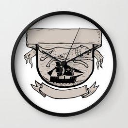 Wolf Running Over Pirate Ship Crest Scratchboard Wall Clock