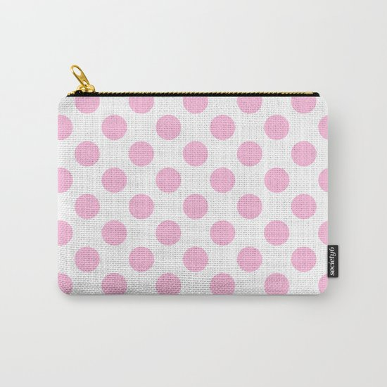 Pink polkadots on white pattern Carry-All Pouch