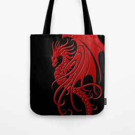Flying Red and Black Tribal Dragon Tote Bag