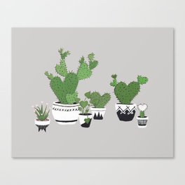 Cactus Love (in gray) Canvas Print