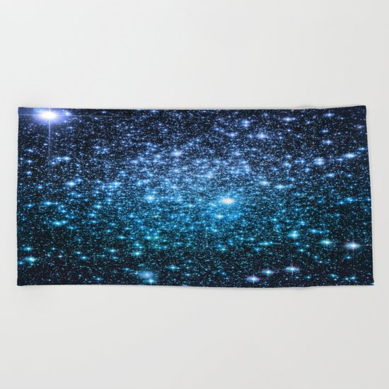 Galaxy Sparkle Stars Periwinkle Blue Turquoise Ombre Beach Towel