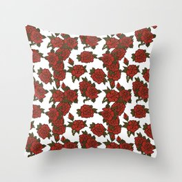 americana: red rose Throw Pillow
