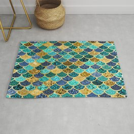 Glitter Blues, Greens, and Gold Mermaid Scales Pattern Rug