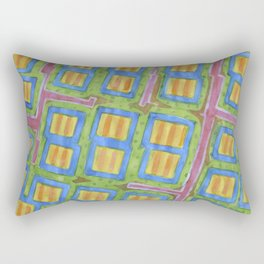 Pastel Colored Striped Squares Pattern  Rectangular Pillow