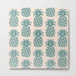 Retro Mid Century Modern Pineapple Pattern Teal and Beige Metal Print