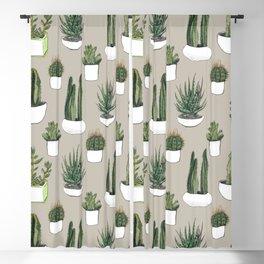 Watercolour cacti & succulents - Beige Blackout Curtain