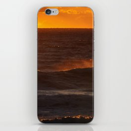 Sunset Orange Wave Spray Beach Ocean Seascape Landscape Colored Wall Art Print iPhone Skin