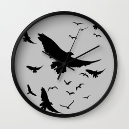 FLOCK OF RAVENS IN GREY SKY Wall Clock