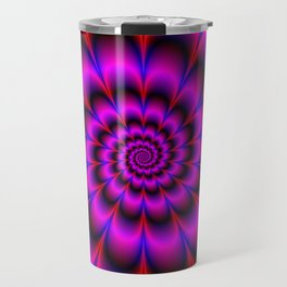 Spiral Rosette in Pink Blue and Red Travel Mug