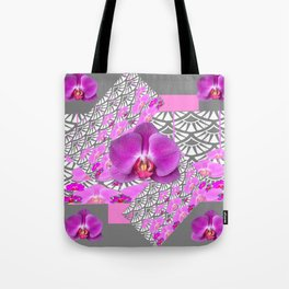 GREY & CERISE PINK ORCHID FLOWERS  WHITE PATTERN Tote Bag