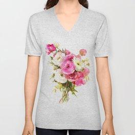 Pink Floral Love, Buttercups, garden flowers, floral artwork Unisex V-Neck