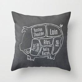 Pork Butcher Diagram (Pig Meat Chart) Throw Pillow