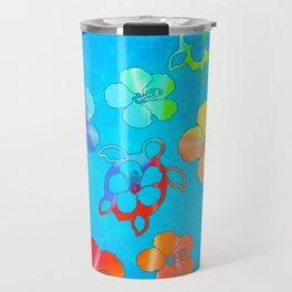 Tie Dye Honu And Hibiscus Travel Mug