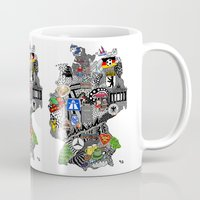germany Mugs featuring Germany Doodle by Rebecca Bear