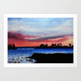 Sunset over Lake Champlain, Vermont Art Print