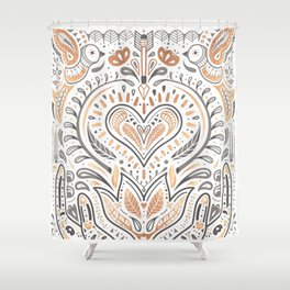Rose Gold Folklore Pattern Shower Curtain