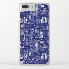 Da Vinci's Sketchbook // Dark Blue Clear iPhone Case