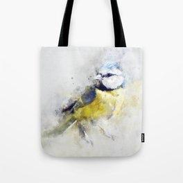 Waterolour blue tit bird painting illustration blue navy yellow artsy animal nature Tote Bag