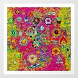 Boho Flowers Abstract mixed media digital art collage Art Print