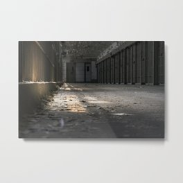 Light Filtering Through Prison Bars Metal Print