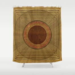 """Golden Circle Japanese Vintage"" Shower Curtain"