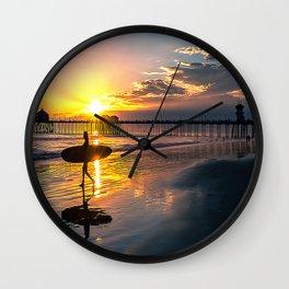 Surf City USA - Little Surfer Girl Wall Clock