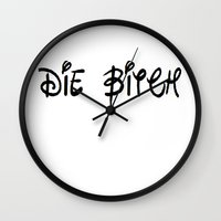 bitch Wall Clocks featuring bitch! by Lyre Aloise