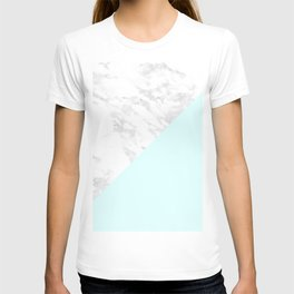White Marble with Pastel Blue and Grey T-shirt
