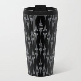 Art Deco 46 . Fishnet black gray zigzag . Travel Mug