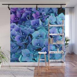 Purple Blue hydrangea Wall Mural