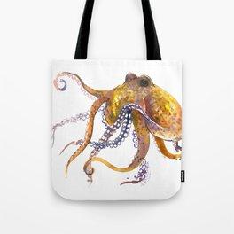 Octopus, orange red gold underwater scene octopus lover design, beach Tote Bag