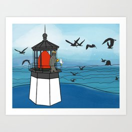 Tuskadero Slim at his home in the Cape Meares Lighthouse from Flock of Gerrys Gerry Loves Tacos Art Print