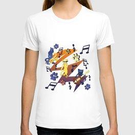 Nineties Jazz Cats Pattern T-shirt
