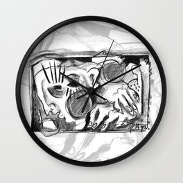 The Shaping of a Man - b&w Wall Clock