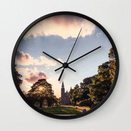 Digital Illustration of Sunset over the Rosenborg Castle in Copenhagen, Denmark Wall Clock