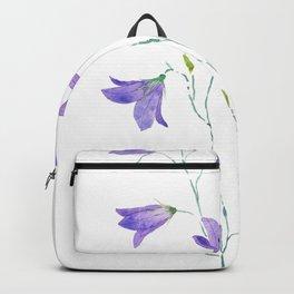 purple wildflower harebell watercolor Backpack