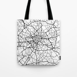 LONDON ENGLAND BLACK CITY STREET MAP ART Tote Bag