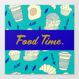 Blue Food Time Pattern Canvas Print