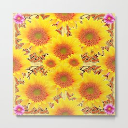 Yellow Caramel Sunflowers on Floral Patterns Metal Print