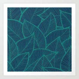 Blue Green Leaves Art Print