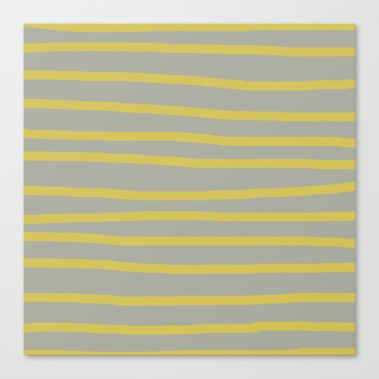 Simply Drawn Stripes in Mod Yellow Retro Gray Canvas Print
