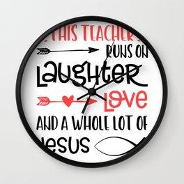 Christian Teacher Run Laughter Love Jesus Quote Fish Graphic  Wall Clock