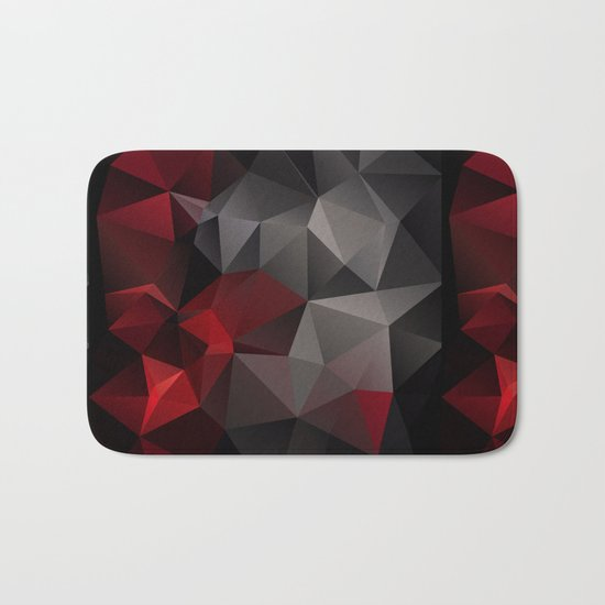 Polygon red black triangles . Bath Mat