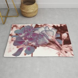 Muted Blue In Bloom Flowers Pop of Color Rug