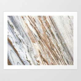 Marble Slab Texture // Gold Silver Black Gray White Stripes Luxury Rugged Rustic Rock Art Print