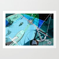 sailing Art Prints featuring Sailing by Tami Cudahy